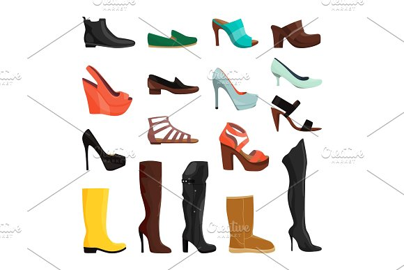 Women shoes in different styles. Vector illustrations