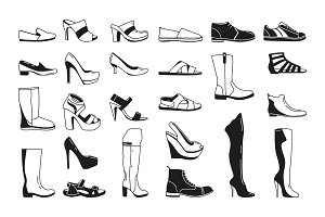 Fashion monochrome pictures. Silhouette of shoes for men and women