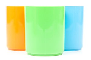 colorful variety of plastic cups