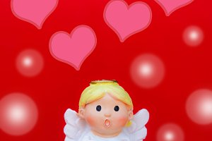 The cupid doll on happy valentine's