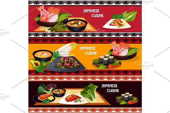 Japanese cuisine restaurant banner of seafood dish