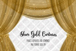 Sheer Gold Curtain Overlays