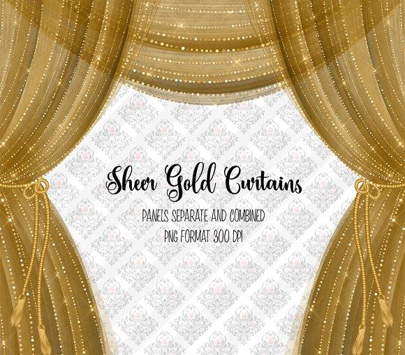 Sheer Gold Curtain Overlays