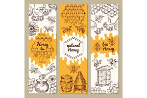 Banners with honey product pictures. Bee, honeycomb. Vector illustrations