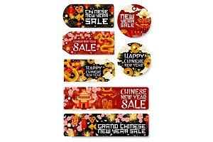 Chinese New Year sale vector shopping tags