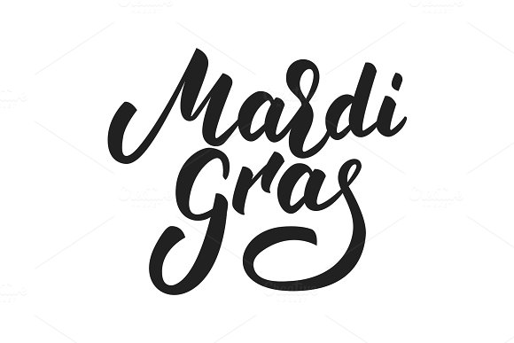 Mardi Gras New Orleans Fat Tuesday Typography
