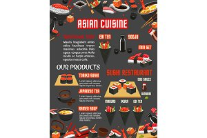 Japanese sushi restaurant menu of asian cuisine
