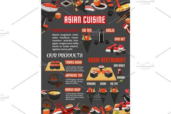 Japanese Sushi Restaurant Menu Of Asian Cuisine