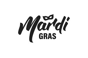Mardi Gras. New Orleans Mardi Gras lettering typography