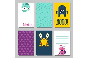 Colorful funny cards set with cute monsters. Templates for birthday, anniversary, party invitations, scrapbooking