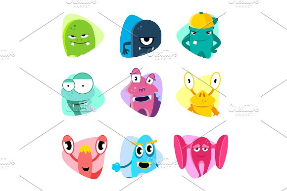 Cute Cartoon Avatars And Icons Monster Faces Vector Set