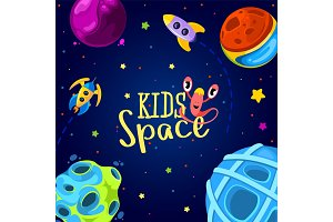 Space frame design. Vector illustration. Kids background in cartoon style