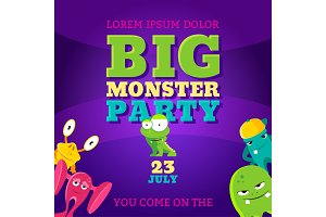 Big monster party card. Invitation poster. Vector template.