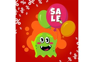 Sale card with cute monster. Promotion balloon shopping discount banner