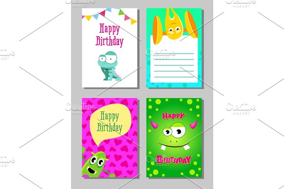 Colorful Funny Cards Set With Cute Monsters