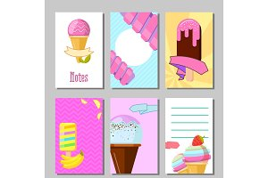 Banner set of cute sweet backgrounds. Ice cream and fruits summer cards