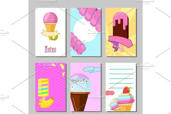 Banner Set Of Cute Sweet Backgrounds Ice Cream And Fruits Summer Cards