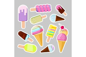 Ice cream stickers. Cute cartoon vector illustration