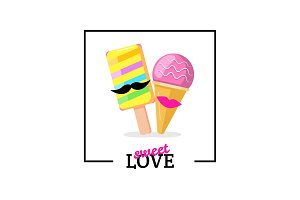 Ice cream couple with lips mustaches. Love card vector illustration