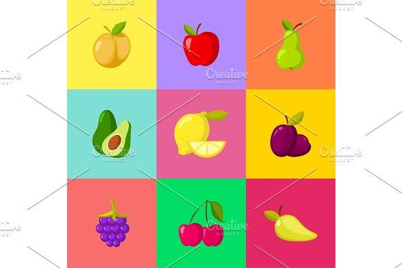 Fruit cartoon icons set. Apple plum lemon cherry pear avocado