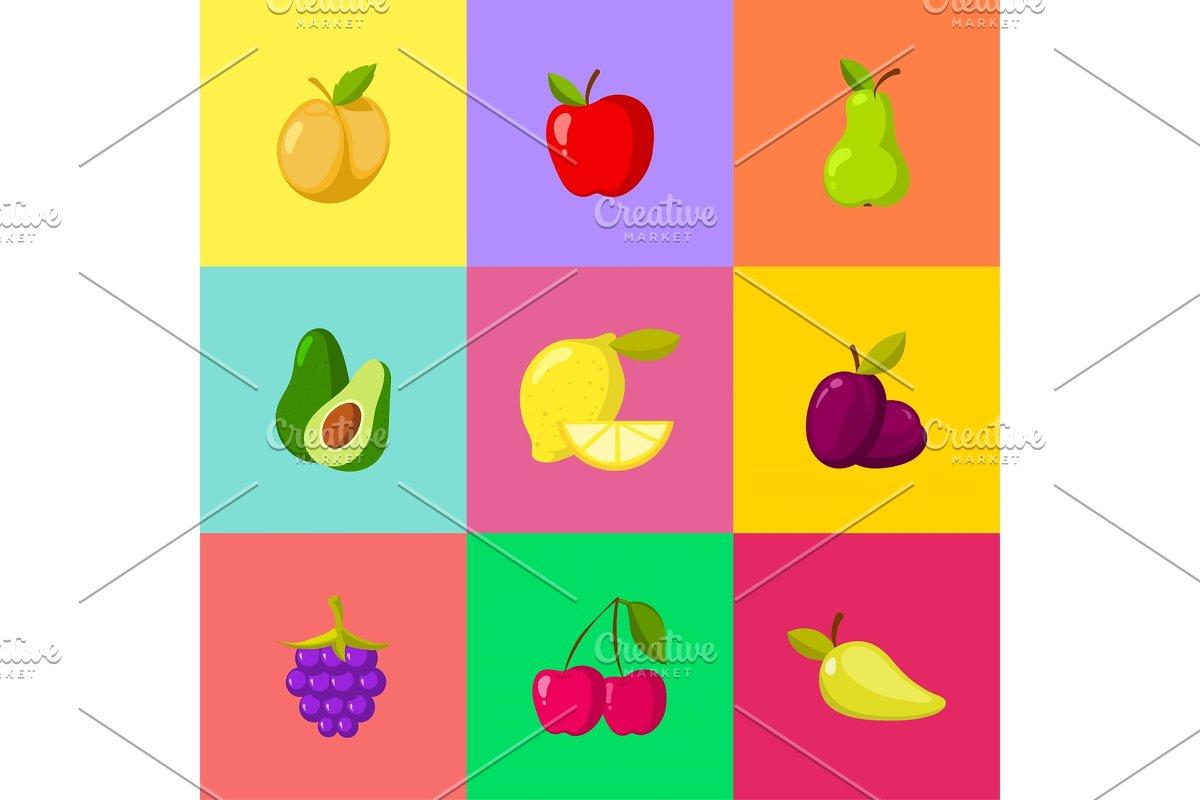 Fruit cartoon icons set  Apple plum lemon cherry pear avocado