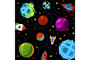 Color children pattern with cute planets, rockets and stars