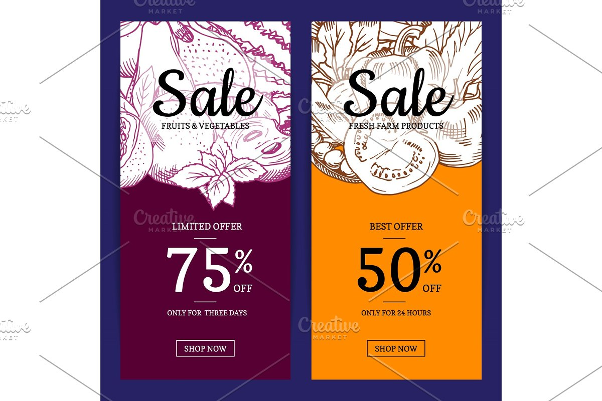Vector handdrawn fruits and vegetables sale flyer