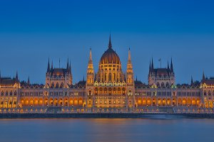 Night view on the Parliament Building in Budapest.