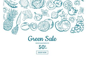 Vector handdrawn fruits and vegetables horizontal sale background
