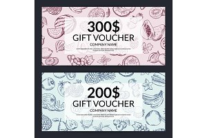 Vector handdrawn doodle fruits and vegetables gift voucher templates