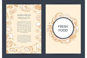 Vector doodle handdrawn fruits and vegetables vegan, healthy food card, brochure, flyer template