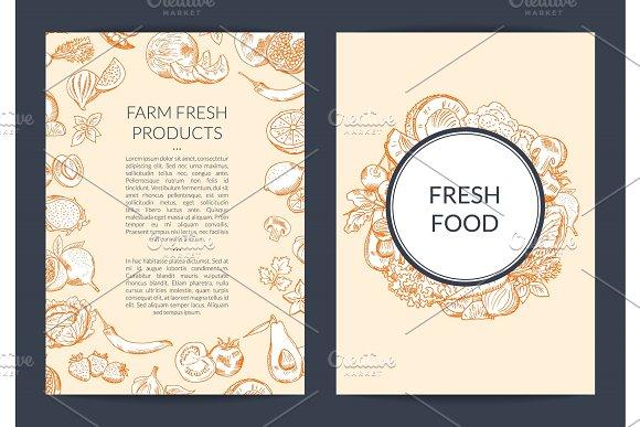 Vector doodle handdrawn fruits and vegetables vegan, healthy food card, brochure, flyer template