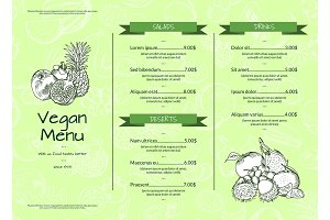 Vector horizontal one page doodle handdrawn fruits and vegetables vegan healthy menu template with ribbons