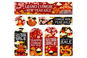 Chinese New Year sale vector tags shop banners