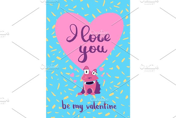 Vector Valentines Day card with hearts, cute monster and lettering on confetti background