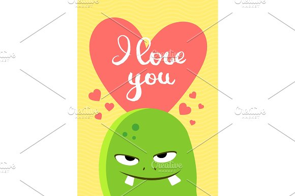 Vector Valentines Day card with heart, cute monster and lettering on wavy background