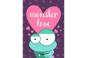 Vector Valentines Day card with heart, cute monster and lettering on circles background