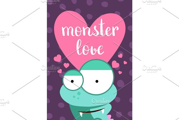 Vector Valentines Day Card With Heart Cute Monster And Lettering On Circles Background