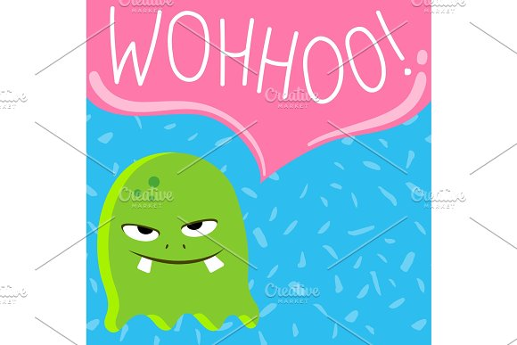 Vector cute cartoon screaming monster with speech bubble on confetti background