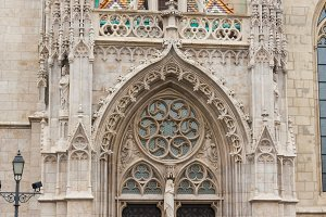 decorated door to the Gothic church, Budapest Hungary.