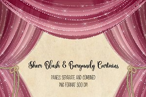 Sheer Blush and Burgundy Curtains