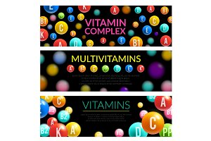 Vitamin complex of dietary supplement 3d banner