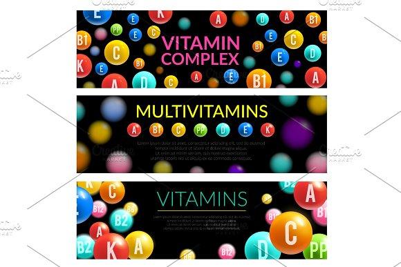 Vitamin complex of dietary supplement 3d banner