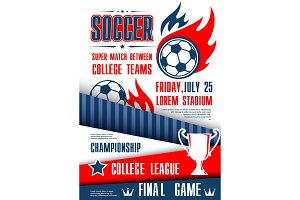 Soccer or football sport tournament match poster