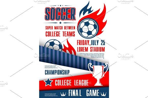 Soccer or football sport tournament match poster