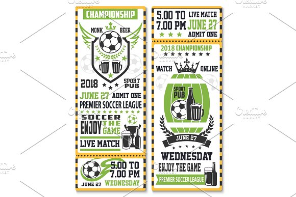 Sport Game Ticket For Soccer Match