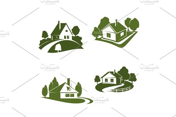 Green Eco House Icon For Real Estate Design