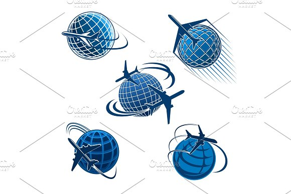 Around the world travel icon with plane and globe