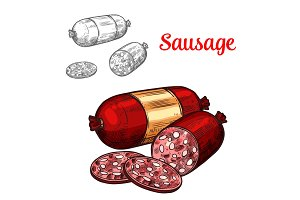 Pork meat sausage isolated sketch of sliced salami