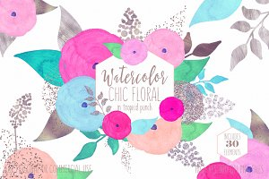 Pink & Blue Chic Watercolor Floral